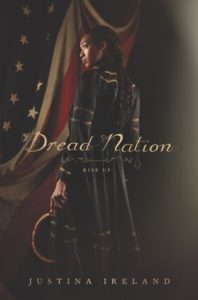 Cover of Dread Nation by Justina Ireland. A woman holds a curved blade in front of a draped US flag.